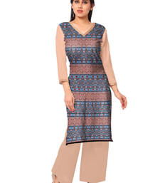Buy Multicolor faux crepe printed stitched kurti kurtas-and-kurti online