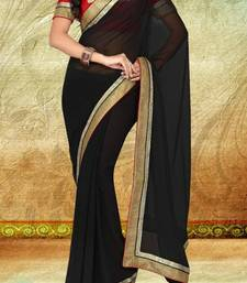 Buy Black Faux Georgette Saree With Blouse georgette-saree online