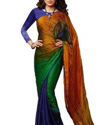 Buy multicolor printed faux jacquard saree with blouse jacquard-saree online
