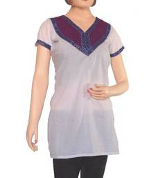 Buy Ethnic Touch - White and Purple Kurti with weaving patch work kurtas-and-kurti online