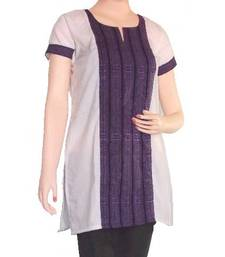 Buy Ethnic Touch - White and Purple Kurti with weaving patch kurtas-and-kurti online