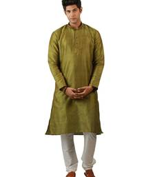 Buy Green blended silk kurta for men men-kurta online