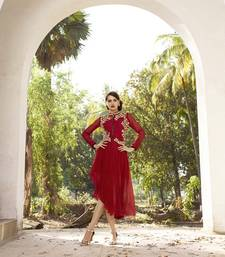 Buy Red georgette embroidered stitched kurti georgette-kurti online