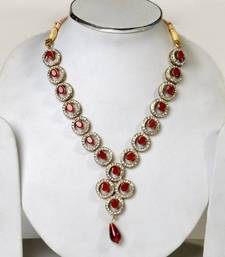 Aradhyaa exclusive zircon ruby set with a free neckpiec shop online