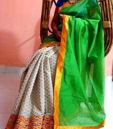 Buy Brocade and green silk georgette-saree online