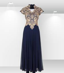 Blue georgette embroidered semi stitched party wear gown shop online