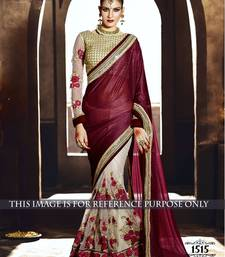 Buy maroon embroidered georgette saree With Blouse bridal-saree online