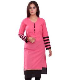 Buy Pink cotton stiched kutis plus-size-kurti online