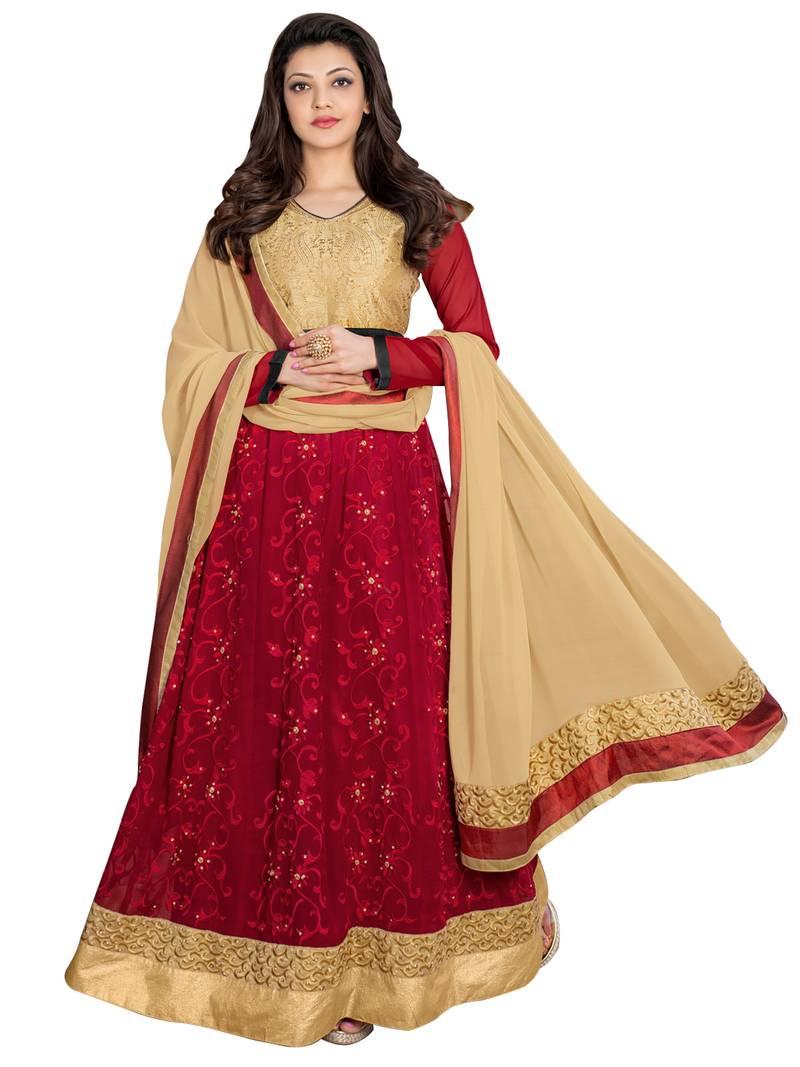 buy maroon embroidered georgette unstitched salwar with dupatta online