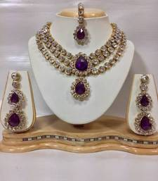 Buy Three Chain Kundan Jewelry Set in Purple Color Necklace online