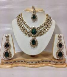 Buy Three Chain Crystal Necklace Set in Bottle Green Color necklace-set online