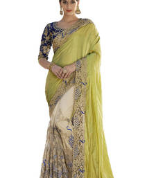 Buy Yellow and Blue embroidred georgette saree with blouse party-wear-saree online