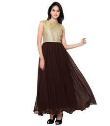 Buy Brown net Plain semi stitiched party wear gowns party-wear-gown online