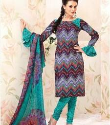 Buy Trendy Multicolor Cotton salwar with Chiffon Duppata dress-material online