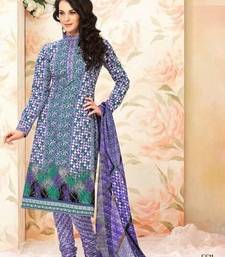 Buy Pleasant Lavender Cotton Salwar with Chiffon Duppata dress-material online