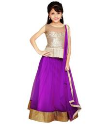 Buy Purple color soft net designer kids lehenga choli kids-lehenga-choli online