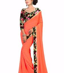 Buy Orange plain georgette saree With Blouse below-1500 online