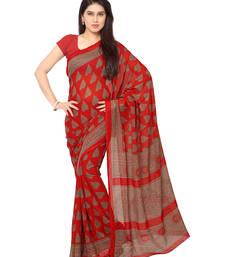 Buy Red printed georgette saree With Blouse below-300 online