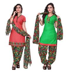 Buy Peach and green crepe printed semi stitiched salwar with dupatta salwar-combo online