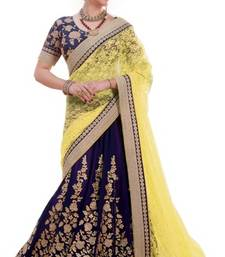 Buy Yellow and blue embroidered net saree with blouse lehenga-below-3000 online