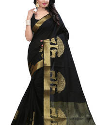 Buy black woven cotton poly saree With Blouse south-indian-saree online