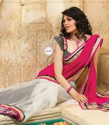Buy Pink Georgette Wi th Net Half & Half Designer Sarees 201-B diwali-sarees-collection online