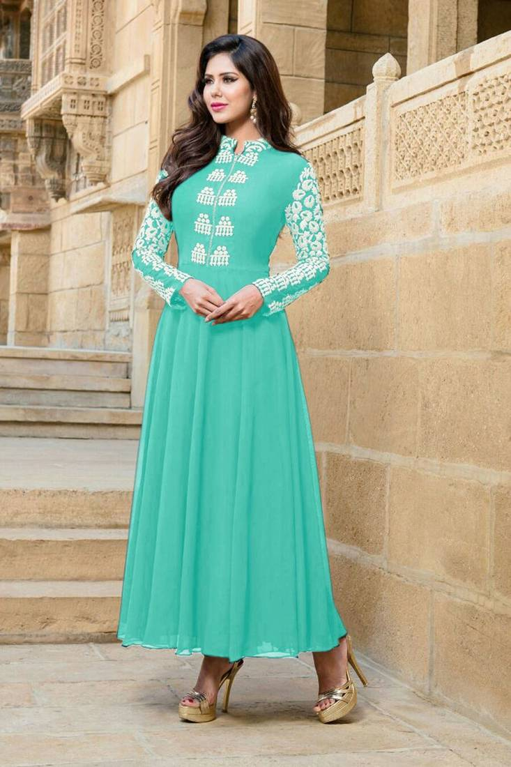 Latest Design Ladies: Buy Green Faux Georgette Embroidered Semi Stitched Salwar