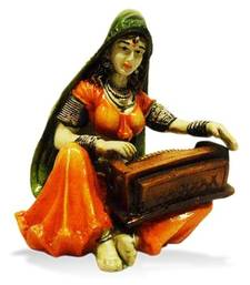 Buy Rajasthani Lady Playing Harmonium sculpture online