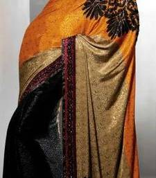 Buy Black With Orange Crepe With Hand Work Designer Saree 5230 crepe-saree online
