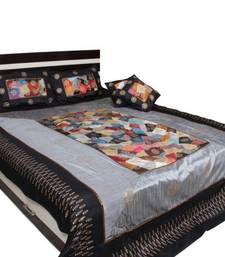 Buy Silver Black Designer Bedsheet set bed-sheet online