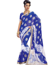 Buy Blue embroidered brasso saree With Blouse brasso-saree online