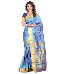 Buy sky blue woven pure art silk saree With Blouse kota-silk-saree online