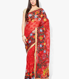 Buy red woven super net saree With Blouse banarasi-saree online