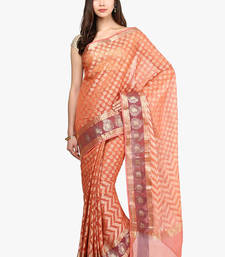 Buy peach woven super net saree With Blouse supernet-saree online