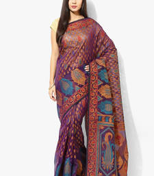Buy blue woven super net saree With Blouse supernet-saree online