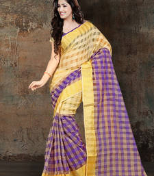 Buy purple printed cotton silk saree With Blouse ethnic-saree online