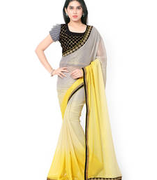 Buy Grey plain shimmer saree With Blouse shimmer-saree online