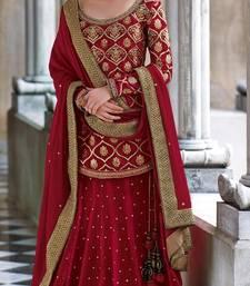 Buy Velvet Deep Red Lehenga Choli Dupatta SC71 eid-sarees-dress online