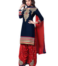 Buy Dark blue georgette embroidered unstitched salwar with dupatta patiala-salwar online