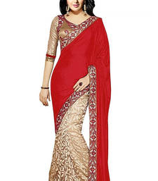 Buy red embroidered net saree With Blouse brasso-saree online
