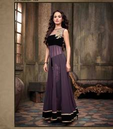 Buy Purple and black georgette embroidered semi stitiched salwar with dupatta party-wear-salwar-kameez online