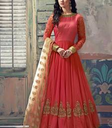 Buy Peach banglori silk embroidered semi stitched salwar with dupatta anarkali-salwar-kameez online