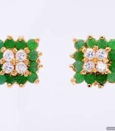 Buy BEAUTIFUL STONE STUDDED SQUARE TOPS/EARRINGS/STUDS (AD EMRALD) - PCE1013 Other online