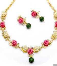 Buy BEAUTIFUL FLOWER CORAL NECKLACE SET WITH EARRINGS (PINK WHITE) - PCN1052 south-indian-jewellery online