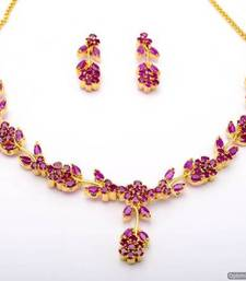 Buy LILY NECKLACE SET WITH EARRINGS (RUBY) - PCN1060 Necklace online