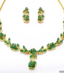 Buy LILY NECKLACE SET WITH EARRINGS (EMRALD) - PCN1062 Necklace online