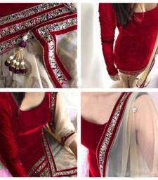 Buy Maroon velvet embroidered semi stitiched salwar with dupatta punjabi-suit online