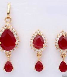 Buy EXOTIC STONE STUDDED PAAN LOCKET SET WITH EARRINGS (AD RUBY) - PCL1014 Pendant online
