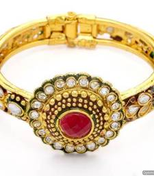 Buy ANTIQUE GOLDEN STONE STUDDED ELEGANT BRACELET/BANGLE/KADA (RED GREEN)  - PCK6018 bangles-and-bracelet online