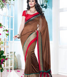 Buy Vishal Art Silk Chikoo Saree Tropical Bloom 31618C party-wear-saree online